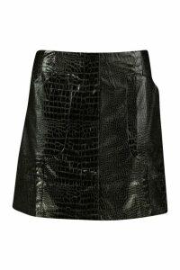Womens Mock Croc Pocket Detail Leather Look Mini Skirt - black - 14, Black