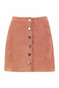 Womens Button Through Cord A Line Mini Skirt - orange - 16, Orange