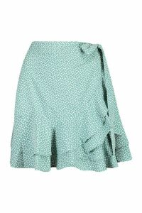 Womens Ditsy Heart Wrap Mini Skirt - blue - 14, Blue