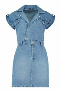 Womens Belted Double Breasted Denim Dress - blue - 12, Blue