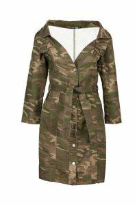 Womens Camo Off The Shoulder Belted Denim Dress - multi - 12, Multi
