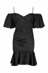 Womens Volume Sleeve Rouched Skirt Satin Dress - black - 16, Black