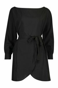 Womens Belted Woven Shirt Dress - black - 14, Black
