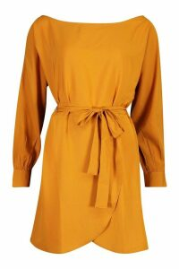 Womens Belted Woven Shirt Dress - yellow - 14, Yellow