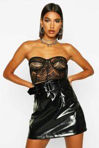 Womens Vinyl Belted A Line Mini Skirt - black - 16, Black