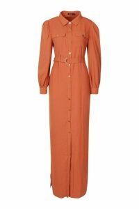Womens Belted Maxi Shirt Dress - pink - 12, Pink