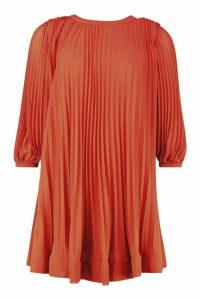 Womens Pleated Swing Dress - orange - 14, Orange