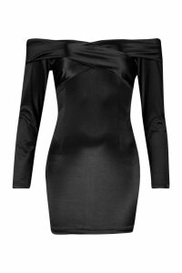 Womens Off The Shoulder Stretch Satin Mini Dress - black - 14, Black
