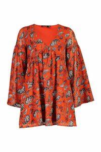 Womens Plunge Extreme Sleeve Smock Dress - orange - 14, Orange