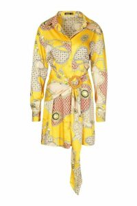 Womens Chain Print Satin Belted Shirt Dress - yellow - 16, Yellow