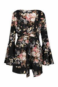Womens Floral Print Plunge Front Twist Shift Dress - black - 14, Black