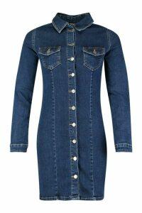 Womens Long Sleeve Denim Bodycon Dress - blue - 10, Blue