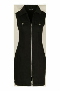Womens Zip Front Power Stretch Denim Bodycon Dress - black - 16, Black
