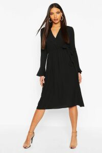 Womens Wrap Split Midi Dress - black - 16, Black