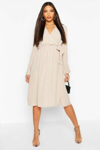 Womens Wrap Split Midi Dress - beige - 6, Beige