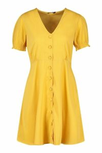 Womens Woven Sheered Sleeve Button Shift Dress - yellow - 8, Yellow