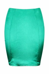 Womens Satin Mini Skirt - green - L, Green