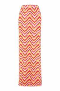 Womens Aztec Side Split Maxi Skirt - Pink - 12, Pink