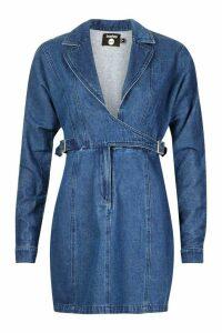 Womens Wrap Over Buckle Bodycon Denim Dress - blue - 12, Blue