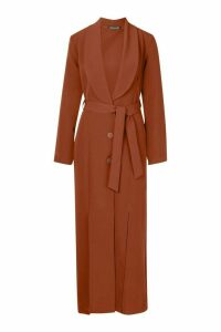 Womens Woven Belted Split Detail Maxi Blazer Dress - brown - 14, Brown