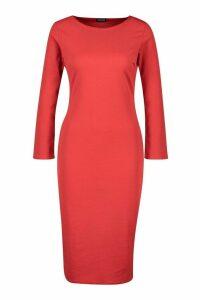 Womens Long Sleeve Midi Dress - orange - 14, Orange