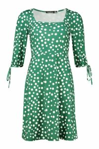 Womens Square Neck Midi Dress With Tie Detail Sleeves - green - 14, Green