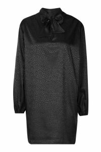 Womens Pussy Bow Jacquard Shift Dress - black - 16, Black