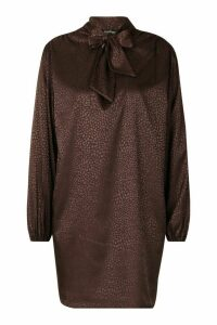 Womens Pussy Bow Jacquard Shift Dress - brown - 16, Brown