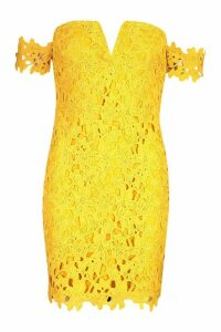 Womens Off The Shoulder V Bar Lace Mini Dress - yellow - 12, Yellow