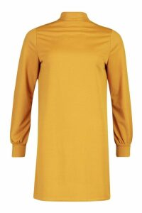 Womens Funnel Neck Volume Sleeve Shift Dress - yellow - 10, Yellow