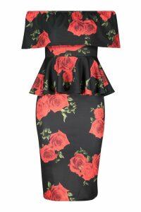 Womens Rose Print Bardot Peplum Midi Dress - black - 16, Black