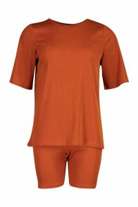Womens Oversized T-Shirt & Cycling Short Co-Ord - orange - 14, Orange