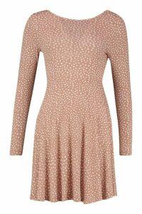 Womens Scoop Back Polka Dot Skater Dress - Beige - 16, Beige