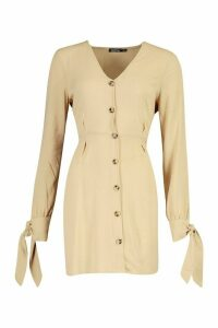 Womens Button Front Fit & Flare Mini Dress - beige - 16, Beige