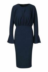 Womens Frill Sleeve Midi Dress - navy - 14, Navy