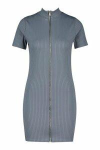 Womens High Neck Rib Zip Mini Dress - blue - 14, Blue