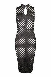 Womens High Neck Polka Dot Midi Dress - black - 16, Black