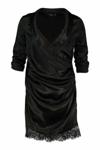 Womens Satin Lace Trim Shirt Dress - black - 14, Black