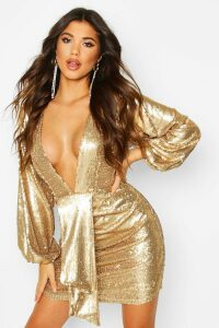 Womens Sequin Plunge Blouson Sleeve Rouche Mini Dress - metallics - 14, Metallics