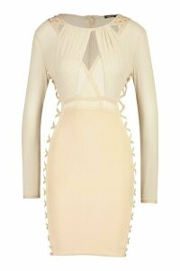 Womens Boutique Mesh Lace Side Extreme Bandage Dress - beige - 14, Beige