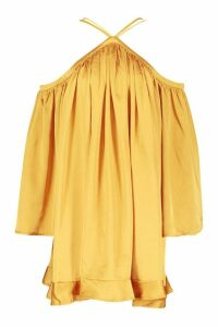 Womens Satin Strappy Extreme Wide Sleeve Swing Dress - yellow - 10, Yellow
