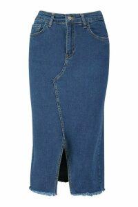 Womens Power Stretch Split Front Denim Mini Skirt - blue - 16, Blue