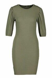 Womens Jumbo Rib Puff Shoulder Mini Dress - green - 14, Green