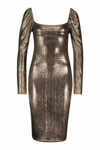 Womens Metallic Square Neck Midi Dress - brown - 14, Brown