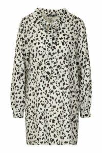 Womens Woven Tie Neck Leopard Shift Dress - white - 16, White