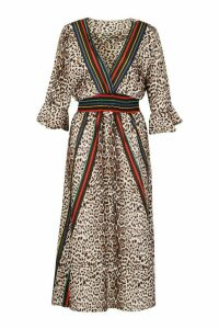 Womens Leopard Striped Midi Dress - multi - M/L, Multi