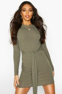 Womens Jumbo Ribbed Long Sleeve Tie Waist Mini Dress - green - 6, Green