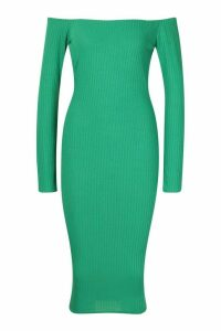 Womens Jumbo Ribbed Off The Shoulder Midi Dress - Green - 10, Green