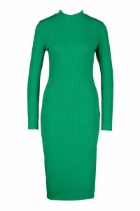 Womens Jumbo Rib Long Sleeve Split Side Midi Dress - Green - 6, Green