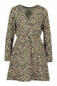 Womens Leopard Print Wrap Skater Dress - multi - 14, Multi